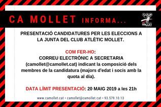 PRESENTACIÓ CANDIDATURES PER LES ELECCIONS