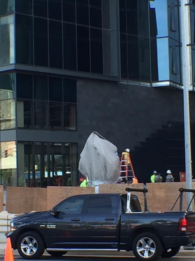 Sculpture installed then hidden