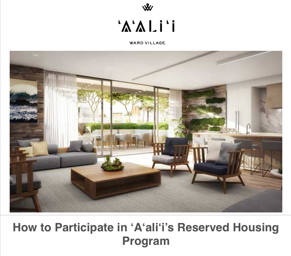 'A'ALI'I Prepares To Launch Reserved Housing Sales