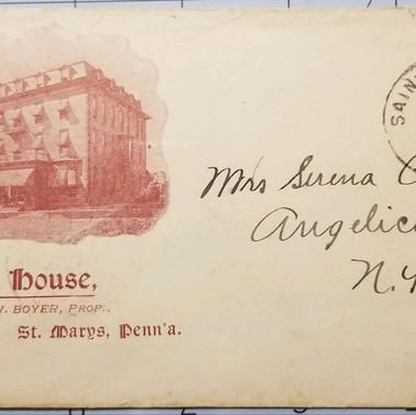 Franklin House Envelope 1901 St. Marys PA