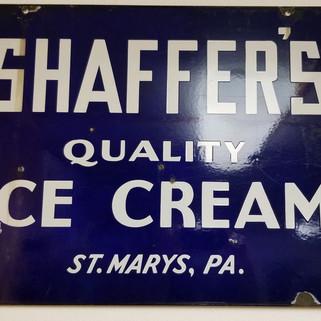 Shaffer's quality ice cream porcelain sign