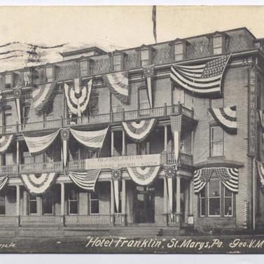 Hotel Franklin postcard St. Marys PA pm 1912