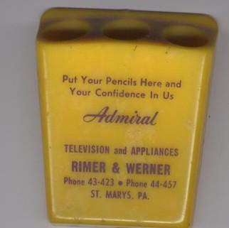 Rimer & Werner television and appliances pencil holder