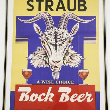 Straub Bock beer poster St. Marys PA