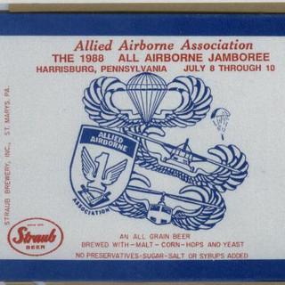 1988 Allied Airborne jamboree label Straub Beer