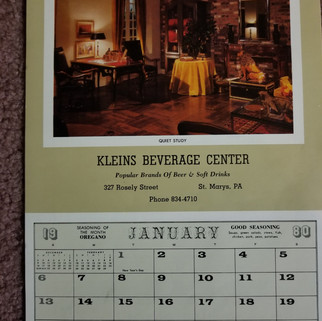 Kleins Beverage Calendar 1980
