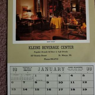 Kleins Beverage Calendar 1980