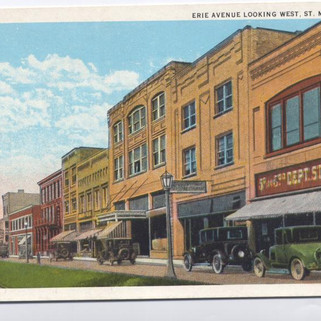 Erie Ave looking  west. postcard St. Marys PA