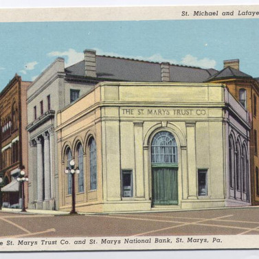 St. Marys  trust co and St. Marys National bank postcard