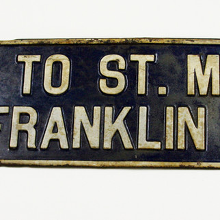 Metal pointer St. Marys  PA Franklin Hotel Sign