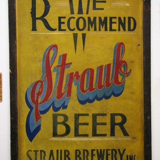 Hand painted early  wooden Straub Beer Sign