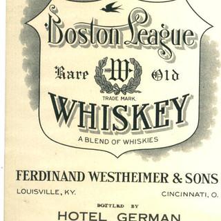 Boston League Whiskey Label Hotel German St. Marys  PA
