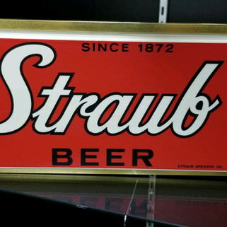 Straub Beer red lighted sign St. Marys PA