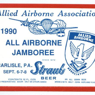 1990 All Airborne Jamboree Straub Beer Label St. Marys PA