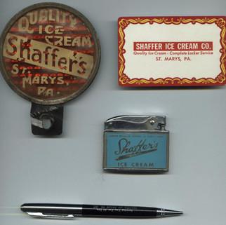 Shaffer ice cream advertising items St. MArys PA