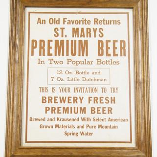 St. Marys premium beer framed cardboard sign