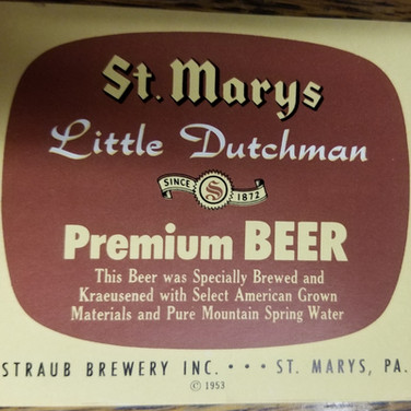 St. MArys Little Dutchman  Beer Label St. Marys PA