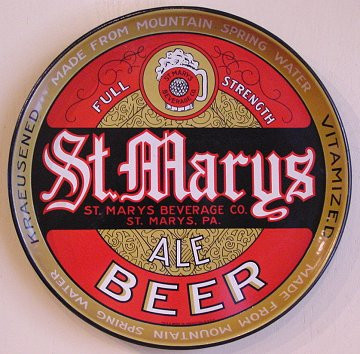 St. Marys Ale and beer tray St/ Marys PA
