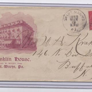 Franklin House St. Marys  PA Envelope pm 1899