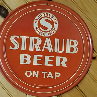 Straub Beer charger sign with hanger