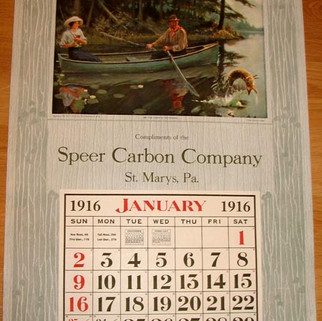 Speer Carbon Co. Calendar St. Marys PA 1916