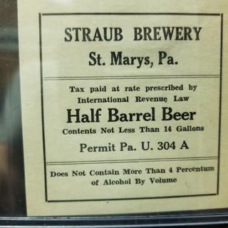 Straub Beer Half Beer Label St. Marys PA