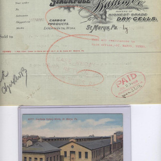 Stackpole Battery Co letterhead and postcard St. Marys PA