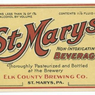 St, Marys Beverage Non Intoxicating Beverage Label St. Marys PA