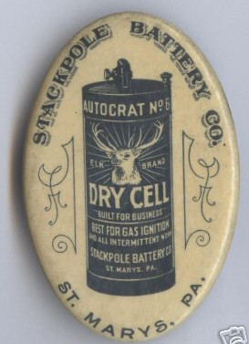Stackpole Battery Co. Advertising pocket mirror St. Marys PA