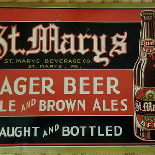 St. MArys Lager Beer tin over cardboard sign St. Marys PA