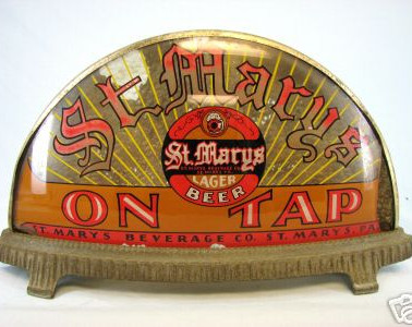 """St. Mary Beer  lighted  """"cab """" glass painted light St. Marys PA"""