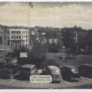 The Diamond St. Marys PA postcard