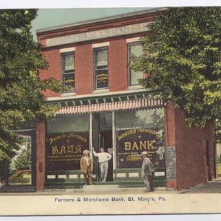 Farmers and Merchants bank St. Marys PA postcard