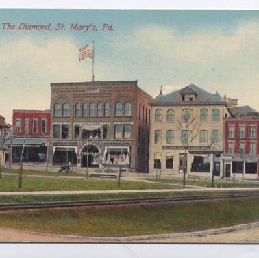 The Diamond St. Marys PA postcard s