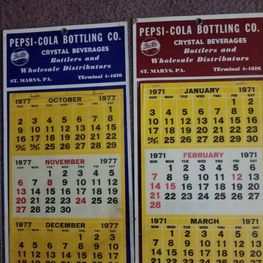 Pepsi Cola calendars 1971 and 977