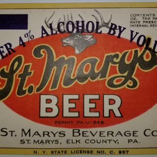 St. Marys Beverage Co. St. Marys PA beer label