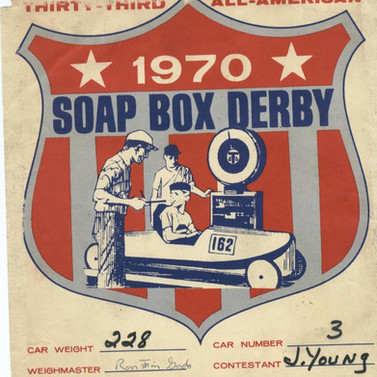 Tshirt back sign for the soap box derby 1970  John Young
