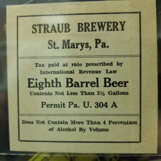 Straub Beer Eight Barrel Beer Label St. Marys PA.