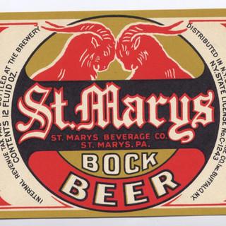 St. Marys Bock Beer Label St. Marys PA