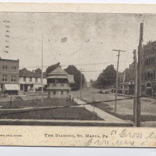 The Diamond St. Marys PA postcard pm 1907