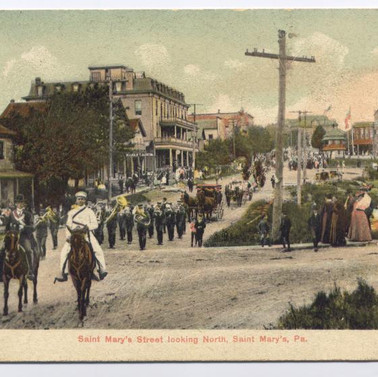 St. MArys St. Looking north postcard St. Marys PA parade