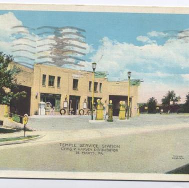 Temple Service Station  Chas Harvey dist. postcard St. Marys PA pm 1935