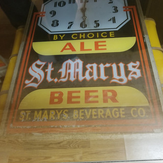 St. Marys Beer lighted sign and clock