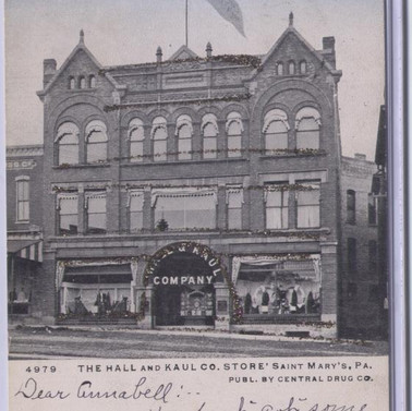 Haul and KAul  CO. Store St. Marys PA postcard pm 1906