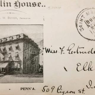 Franklin House Envelope 1898 St. Marys PA