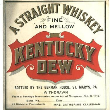 Kentucky Dew Whiskey Label St. Marys PA