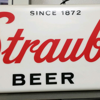 Straub Beer white lighted sign St. Marys PA