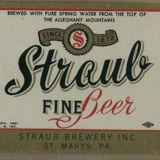 Straub Fine Beer Label St. Marys PA