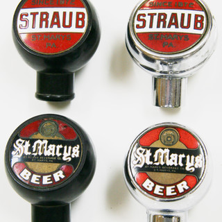 Straub and St. Marys brewing round tap knobs