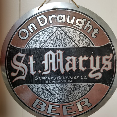 St. Marys Beer Tin round button sign